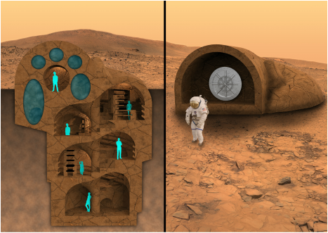 3D printed underground habitat on Mars, reminiscent of a Nautilus shell.